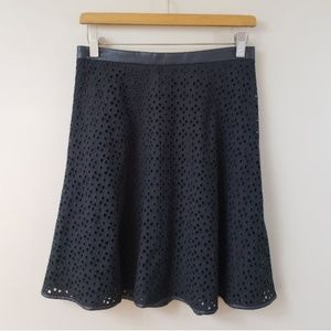Ann Taylor Eyelet Skirt with Faux Leather Trim